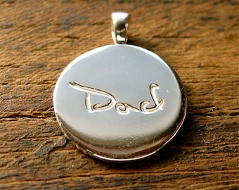 Round Shaped Finger Print Pendant in Sterling Silver with Dad Engraving and Chain