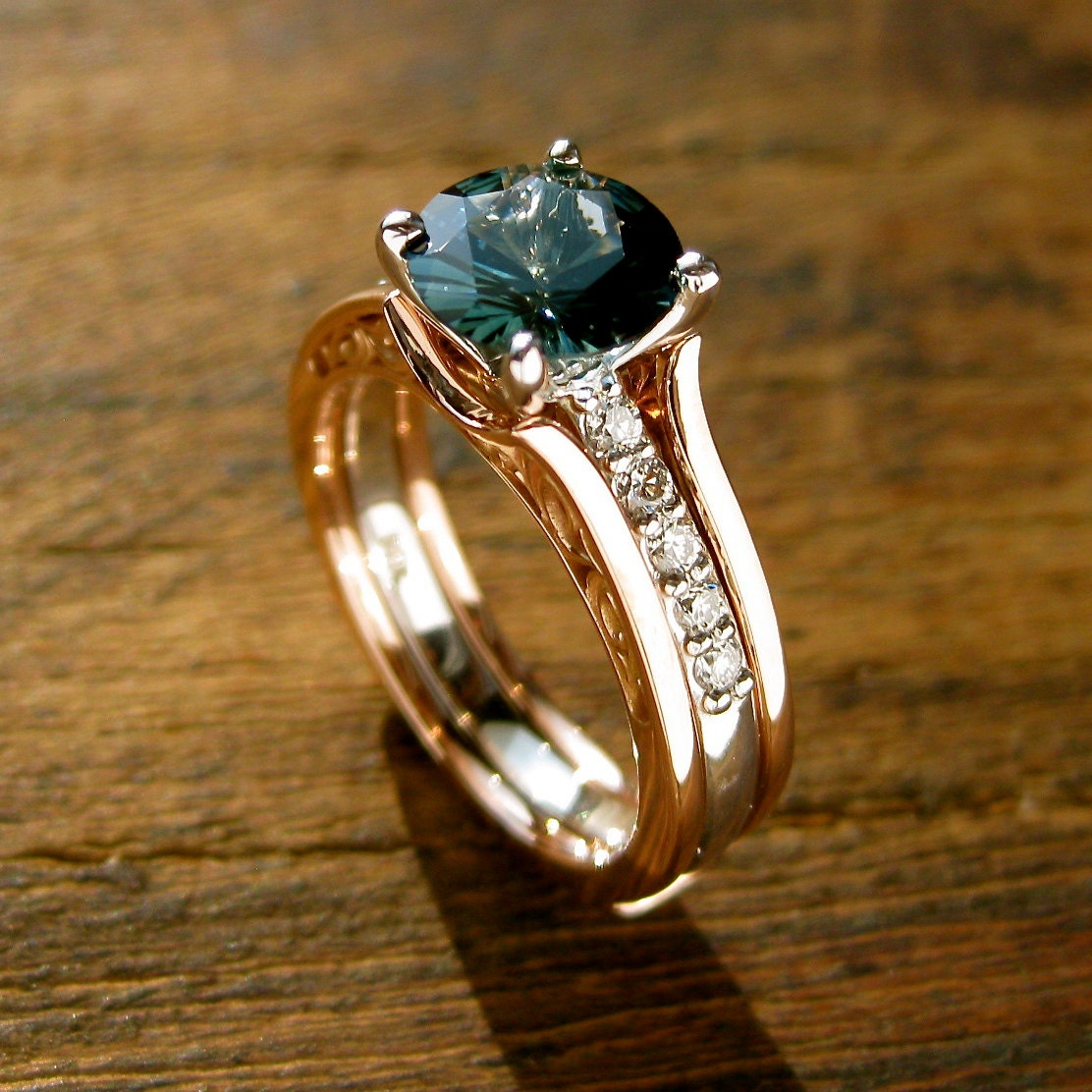 Teal Blue Sapphire Engagement Ring With Diamonds In 14k White