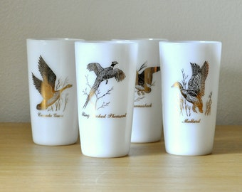 set of four mid century tumblers - wild birds