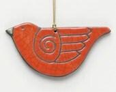 Bird ornament, ceramic, Raku,poppy red,red orange, orange, handmade,Whimsical Sculpture,home decor