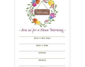 Watercolor Wreath House Warming Fill-in Invitations 10 pack
