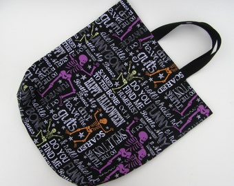 Halloween trick or treating bag - spooky skeletons - Halloween bag for children -cotton fabric candy bag - ready to ship