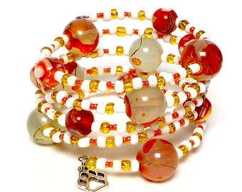 AUTUMN FROST Coil Beaded Bracelet by Beading Divas Fundraiser