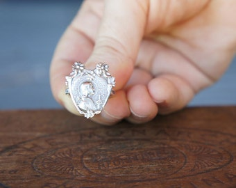 Solid Silver Handmade Antique French Joan of Arc Ring