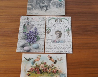 Four Sweet and Romantic Antique French Postcards Circa 1900