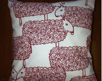 "Red Sheep pillow case, Finland Nanso cotton fabric. Adorable. 14x14"" , 35x35cm"