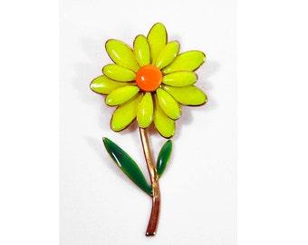 1960s Yellow Orange & Green Enamel on Gold Plate Flower Daisy Pin Brooch