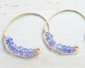 Tanzanite Gold Earrings, Violet Gemstone Jewelry, Simple Minimal Hoop, Gift for her