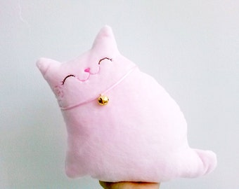 Stuffed Cat, Cat Pillow, Cat Softie, Doll Cat, Toy Cat Pink, Nursery Kids room Decor - Kitty Pinky