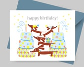 Dachshund Card - Birthday Doxies Multiplied in Blue with Envelope and Sticker - Dog Birthday Doxie Card
