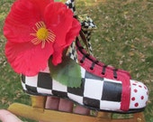 hand painted vintage child ice skate upcycle decor MacKenzie Childs bow checks red poppy