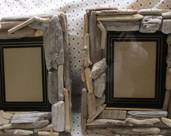 set of 2 Driftwood frames for 6 by 10 inch hand crafted Lake Superior beach twigs matt painted on glass