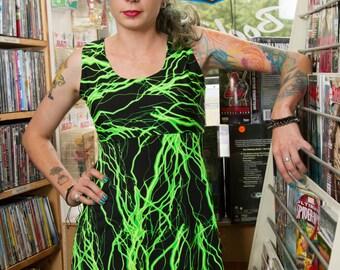 green lightening dress