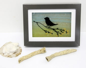 Fused Glass Painting  - Silhouette black bird  landscape 3d painting on glass