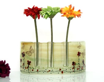 Fused glass  Curved vase Divided to three vases decoration -  Beautiful handmade  red Poppies vase in Calm brown and  orange