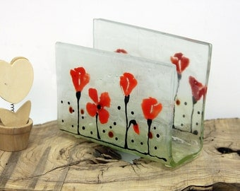 Fused Glass napkin holder , red Poppies Field