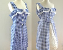 VTG Blue Gingham Dress w/ Eyelet Dorothy Milk Maid Alice in Wonderland Costume Harajuku Square Dance Pinafore Wizard of Oz Role Play NO SLIP