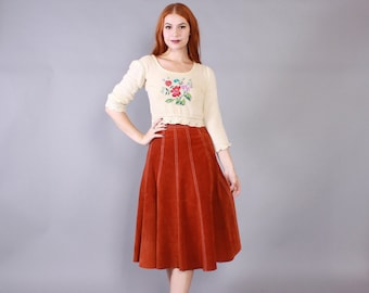 Vintage 60s SUEDE SKIRT / 1960s A-Line High Waist Leather Hippie Skirt xs