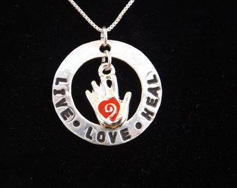 Live Love Heal necklace, Nurse necklace, Healing hand necklace, physical therapist necklace, massage therapist necklace, heart in hand charm