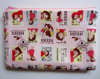 Pencil/Cosmetics Case - Heidi, the Alps girl on pink