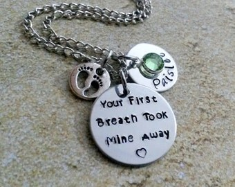 Your First Breath Took Mine Away Necklace-Name Jewelry-Custom Necklace-Name Necklace-Gift for Mom-Personalized Jewelry-HandStamped Necklace