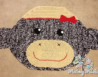 Crocheted Sock Monkey Rug