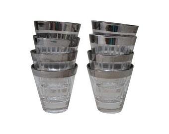 Vintage Stylized Set of 8 Silver Rimmed Shot Glasses