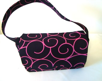 Medium Size Coupon Organizer /Budget Organizer Holder - Attaches To Your Shopping Cart  Black with Pink Swirls - Ready to Ship