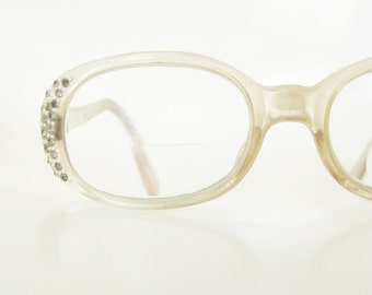 Vintage 1960s Mod Rhinestone Glasses Womens Eyeglasses Glamorous Glam France French Rhinestones Pearls Citron Yellow Clear Mod