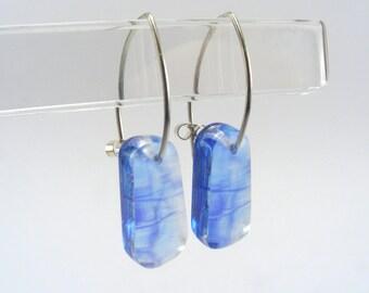 Blue Trees drop earrings, pespex drops