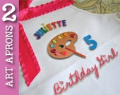 TWO Art Party Apron UPGRADE Painting Pottery Birthday Party Personalized White Tie Up Apron Smock with Palette adorned with colorful Gems