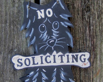 SCOTTIE DOG SIGN - No Soliciting/Remove Shoes Sign/Welcome - Original Hand Painted Wood