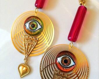 Eye Earrings  - Eye Jewelry - Geometric Earrings - Eygptian Earrings - Eygptian Jewelry - Geometric Jewelry - Occult Jewelry - Evil Eye