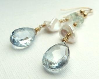Aquamarine Keishi Pearls Mystic Blue Quartz Gold Earrings