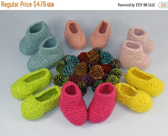 HALF PRICE SALE Digital pdf file knitting pattern -Really Easy Baby Booties and Slippers knitting pattern pdf download by madmonkeyknits