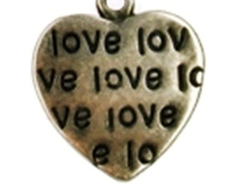 Lot of 10 Charms / Pendants /Heart shaped charms for making jewelry. Antique silver plated