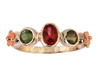 Ring silver gold 9 carats with faceted tourmalines , ring for woman , floral ring, sterling silver and gold rings,  israeli jewelry,