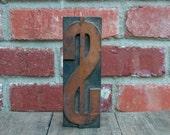 """Vintage Wooden Print Block Letter Dollar Sign  6"""""""