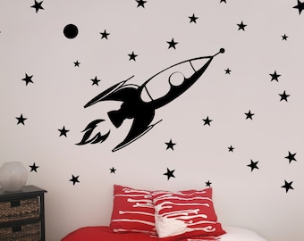 X Large Rocket Vinyl Wall Decal, Outer Space, Rocket Launch, Galaxy, Stars, Nursery, Child's Room, Play Room, Kid's Room