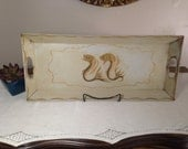 """Reserved Vintage Tole FISH Tray 21"""" Hand Painted Rectangular Metal Long Narrow Tan Yellow Ochre Mid Century"""