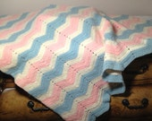 Vintage Chevron Stripe Baby Blanket Crocheted Afghan Crib Nursery Pink, Blue, Cream