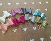 Glitter fabric bow planner clips