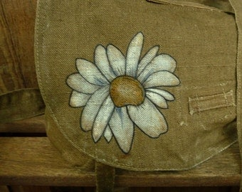 Grunge Daisy on Vintage Linen Hemp Military Bag Purse - Hand Painted