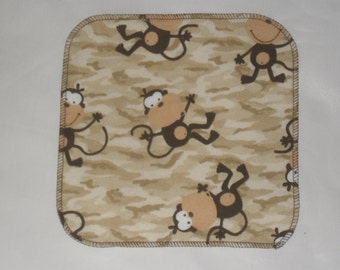 6 Monkey Camo printed flannel wipes