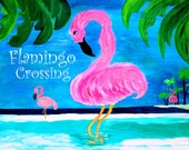 Flamingo Crossing Art Top sheet and  matching pillow cases, from my art