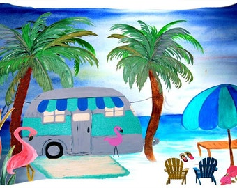 Air stream retro camper by the beach dog or cat bed from my art
