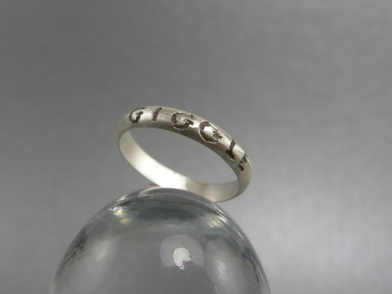 ring sterling silver engraved word giggle