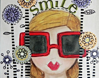 Smile ~Red Sunglasses~ 8x8 wood wall art. ORIGINAL painting Mixed Media