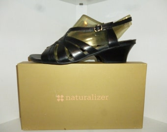Naturalizer - Dame - Black  - Leather - Strappy - High Heel - Sandals - size 9 1/2 Medium - New Old Dead Stock - in the box