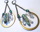 Turquoise Quartz Crystal Point Earrings Swing Raw Rough Stone Jewelry